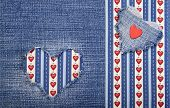 image of applique  - Heart symbol in denim trimmed with other tissue - JPG