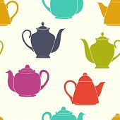 stock photo of teapot  - Tiling seamless pattern with colorful coffee and teapot silhouettes - JPG