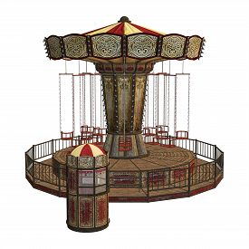 picture of swingers  - 3D digital render of a vintage carousel and a ticket box isolated on white background - JPG