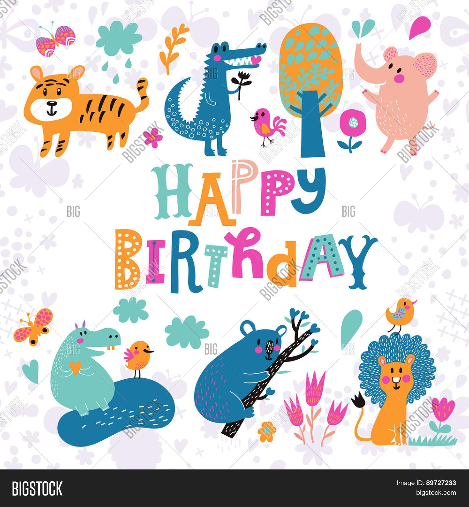 Sweet Card Crocodile Elephant Vector Photo Bigstock - Birthday invitation background vector