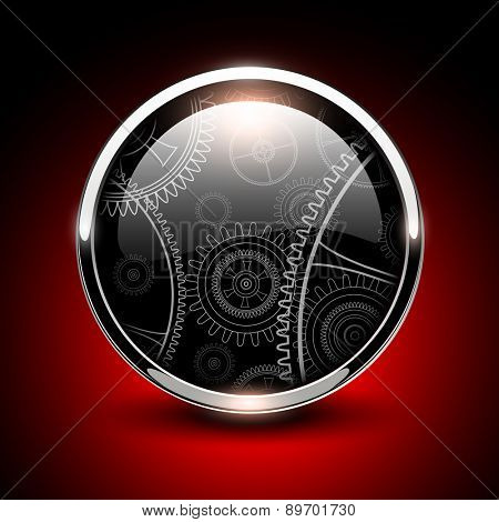 Shiny button glossy metallic with vector machinery inside.