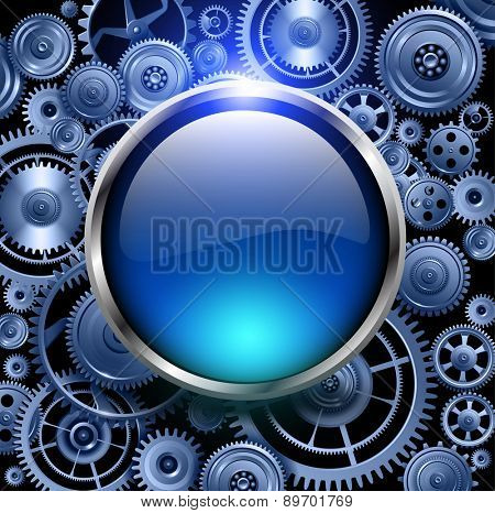 Blue glossy button on gears background, vector illustration.