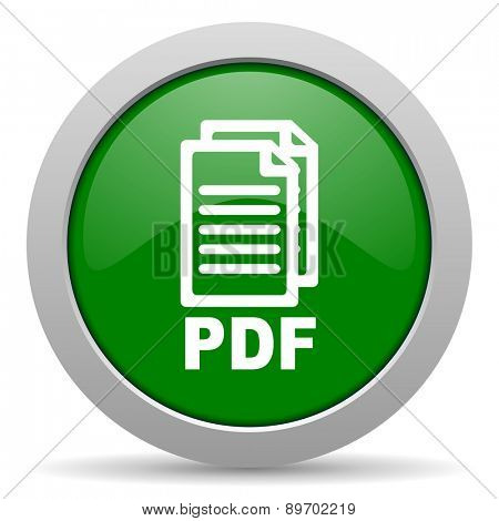 pdf green glossy web icon,