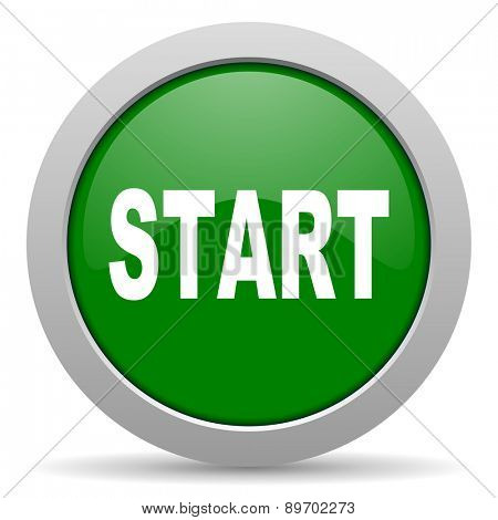 start green glossy web icon