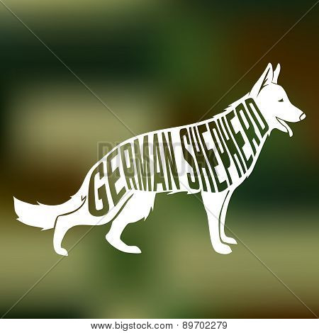 Creative design of german shepherd breed dog silhouette on colorful blurred background.