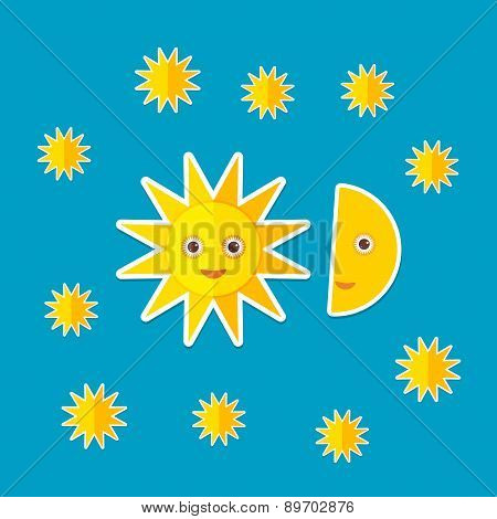 Sun Moon Stars On Blue Night Sky. Modern Style Flat. Vector