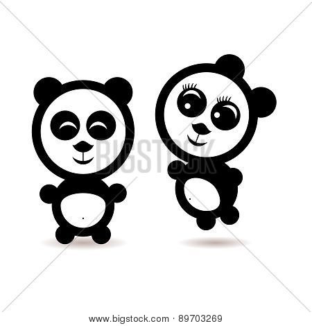 Two little cartoon Panda lovers