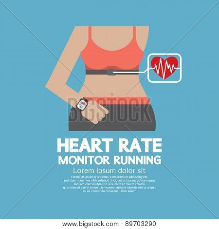 Flat Design Heart Rate Monitor Running.