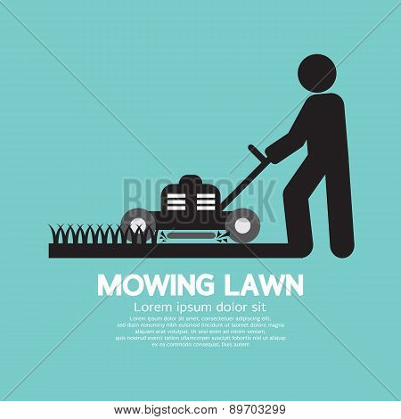 Graphic Symbol Of A Man Moving Lawn.