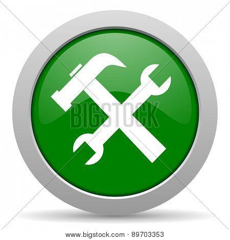 tool green glossy web icon