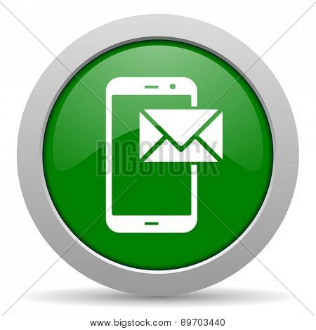 mail green glossy web icon