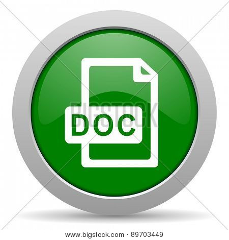 doc file green glossy web icon