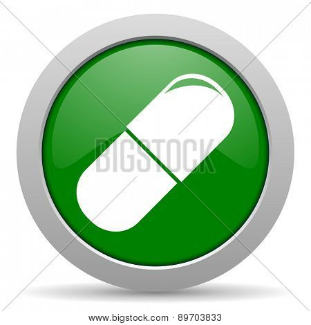 drugs green glossy web icon