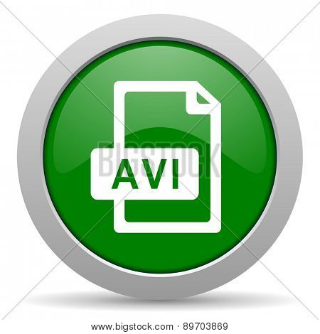 avi file green glossy web icon