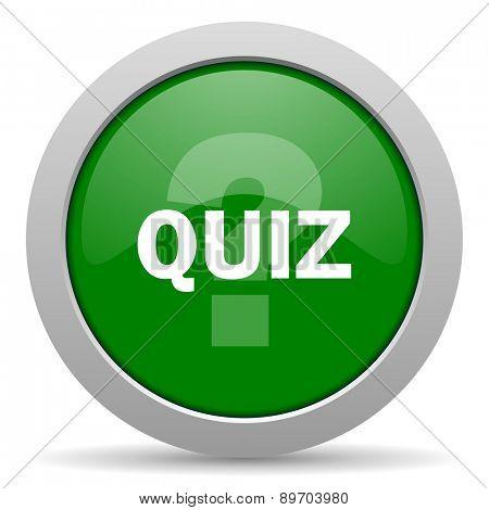 quiz green glossy web icon