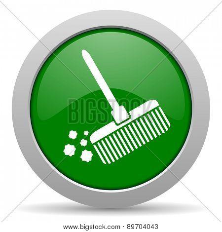 broom green glossy web icon