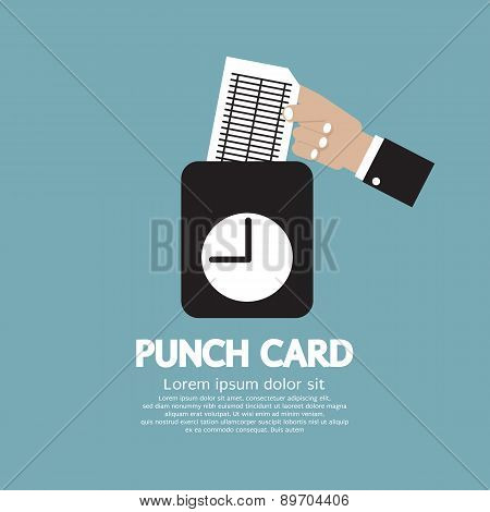 Worker Using Punch Card For Time Check.