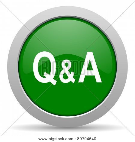 question answer green glossy web icon