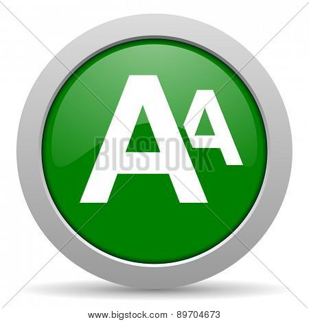 alphabet green glossy web icon