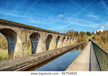 Perspective view of Chirk viaduct and aquaduct.