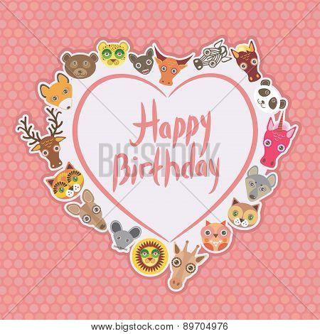 Funny Animals Happy Birthday. White Heart On Pink Polka Dot Background. Vector