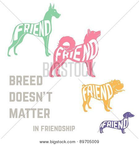 Dog breed silhouette with friendship concept text.