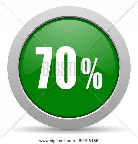 70 percent green glossy web icon