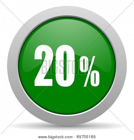 20 percent green glossy web icon