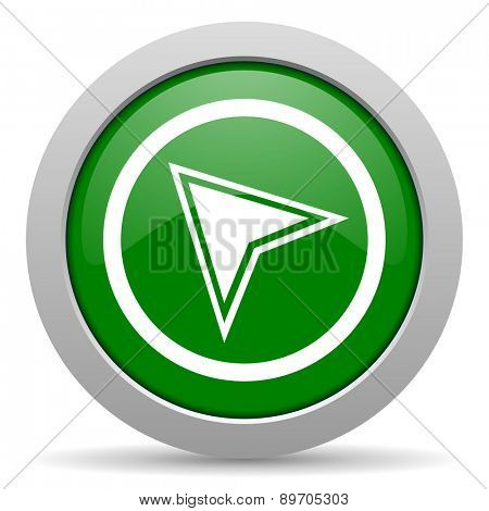navigation green glossy web icon