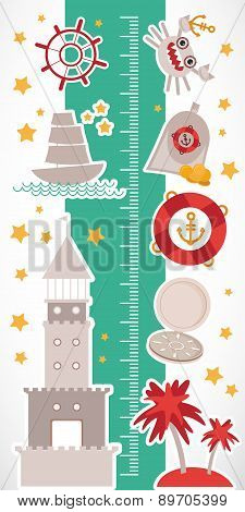 Vintage Nautical. Sea Animals, Boats, Lighthouse. Cute Objects Collection. Children Height Meter Wal