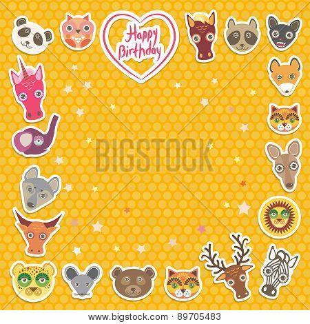 Funny Animals Happy Birthday. Orange Polka Dot Background. Vector