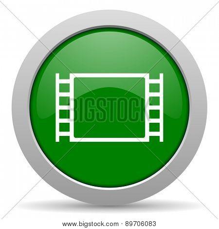 movie green glossy web icon