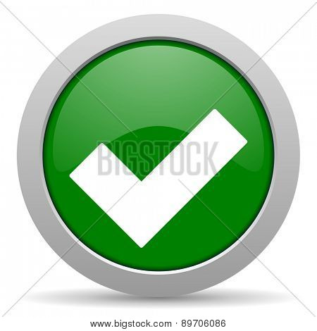 accept green glossy web icon