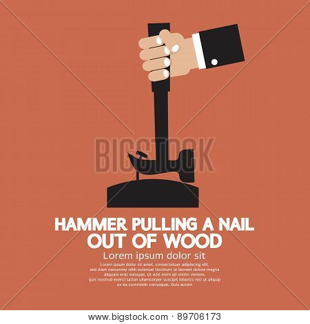 Hammer Pulling A Nail Out Of Wood.
