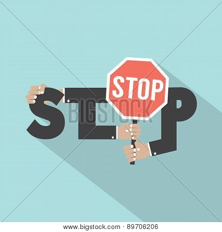 Stop Typography With Stop Signboard Design.