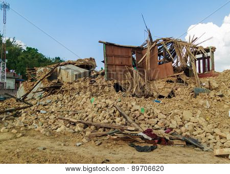 KOT DANDA, LALITPUR, NEPAL - MAY 2, 2015: Damaged houses after the 7.8 earthquake that hit Nepal on April 25, 2015.