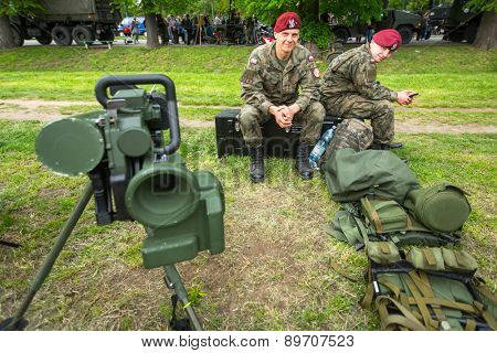 KRAKOW, POLAND - MAY 3, 2015: Polish soldiers during demonstration of the military and rescue equipment during annual Polish national and public holiday the Constitution Day May 3rd.