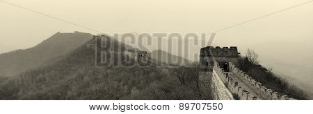 Great Wall panorama in black and white in Beijing, China