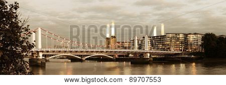 Battersea Power Station panorama over Thames river as the famous London landmark.