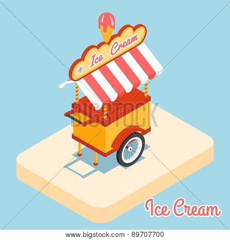 Ice cream cart 3d flat icon
