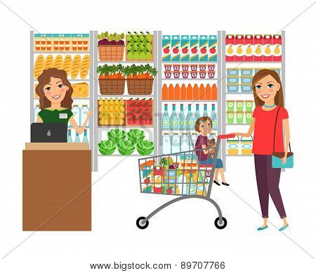 Woman shopping in grocery store