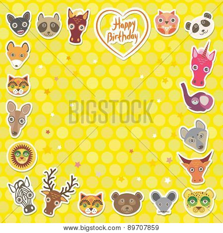 Funny Animals Happy Birthday. Yellow Polka Dot Background. Vector