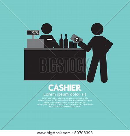 Cashier With Customer Graphic Symbol.