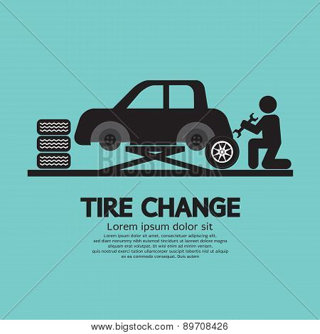 Person Changing Automobil Wheel Tire Graphic Symbol.