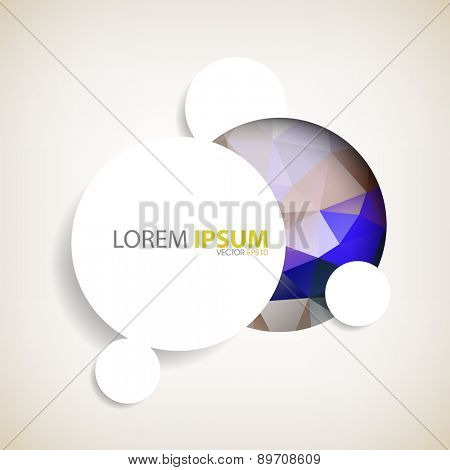 geometric triangular shape enclosed in circle embossed round white frame with shadow background eps10 vector