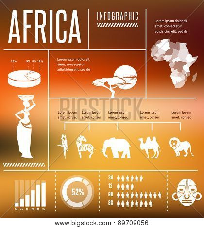 Africa - infographics with data icons, elements and illustrations,  background