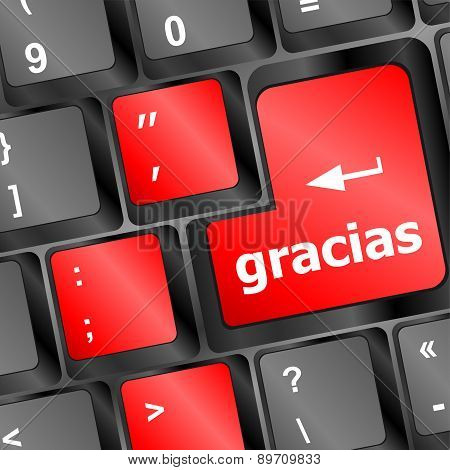 Computer Keyboard Keys With Word Gracias, Spanish Thank You Vector