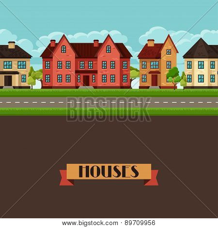 Town seamless border with cottages and houses