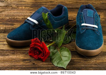 Dark Blue Man's Shoes And Rose
