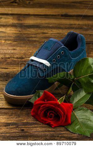 Dark Blue Man's Shoe And Rose